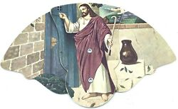 Vintage 1950andrsquos Jesus Knocking Funeral Home Hand Fan Philadelphia Pa Roberts Home
