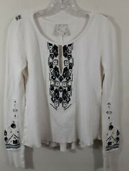 Free people thermal waffle knit embroidered sweater top blouse bohemian Small