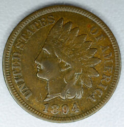 1c One Cent Penny 1894 Ef/au Indian Head Even Chocolate Color High Grade