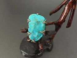 Vintage Southwestern Arte Sterling Silver Turquoise Leaves Ring Size 9.75
