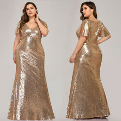 Ever pretty US Sequins Gold Evening Gowns Formal Mother Of Bride Dress Plus Size $54.99