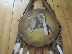 Native American Ceremonial Leather Shield, 21 Painted Counting Coup, Sd-03697
