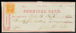 Obsolete Bank Check Chemical Bank New York 1865 75 W/ Stamp Civil War Period