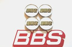 4 Bbs White With Gold 3-d Logo 56mm Center Caps 56.24.182 Or 56.24.012