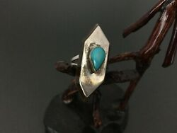 Vintage Southwestern Sterling Silver Turquoise Amber Or Agate Ring Size 8.75