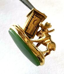 10k Yellow Gold Alaskan Spinach Jade Moose Tips Over Outhouse Charm Pendant