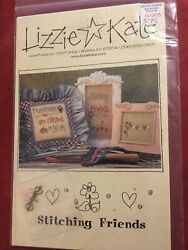 """Lizzie Kate Cross Stitch Leaflet """"Stitching Friends"""" With Charms amp; Buttons Cute $10.99"""