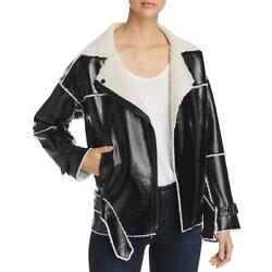 Kenneth Cole Womens Black Faux Leather Motorcycle Jacket Outerwear BHFO 2426