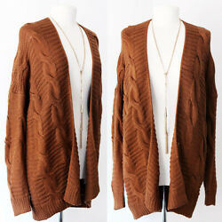 NEW Camel Brown Soft Cozy Chunky Cable Knit Sweater Open Front Long Cardigan