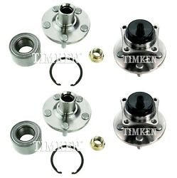 New Front And Rear Wheel Bearings And Hubs Kit Timken For Toyota Corolla Fwd 09-17