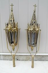 + Pair Of 100 Year Old Brass Processional Torch Tops 24 1/2 Cu109