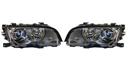 Pair Set Of Left And Right Genuine Xenon Silver Headlights Lamps For Bmw E46 330ci