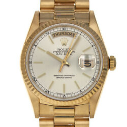 Rolex 18038 9.6 Million Day Date Silver Stick Box Papers 18 Kt Yellow GOLD Watch