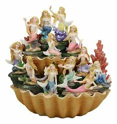 Colorful 2 Tier Golden Giant Clam Shells Led Display Stand With 12 Mini Mermaids