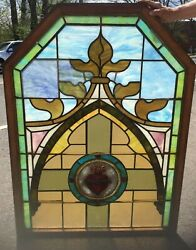 """Antique 48"""" X 36"""" Martha's Vineyard Sacred Heart Stained Glass Window Panel"""