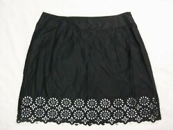 Style & Co womens Skirt Size 20W Black Lazer Cut Out White Lined Side Zip Cotton