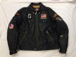 Menand039s Xl Harley Davidson American Eagle Logo Leather Jacket Vietnam Patches