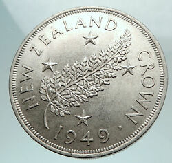 1949 New Zealand Silver Fern Plant Crown Coin Under Uk King George Vi I80168