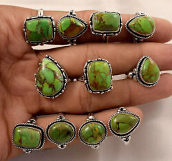 20 Pcs. Natural Green Copper Turquoise Gemstone 925 Silver Plated Rings Lot