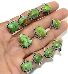 50 Pcs. Natural Green Copper Turquoise Gemstone 925 Silver Plated Rings Lot