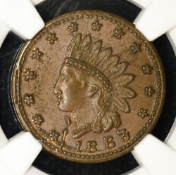 1863 Civil War Token Indian Head/flags Cannons And Drum Ms64 Bn Ngc F82/351a R2