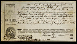 Obsolete Bank Check Union City Erie County Pa 1875 Real Estate Promissory Note