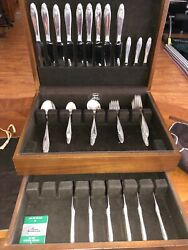 Prelude By International Sterling Silver Flatware 56 Pcs 9 Services Complete Set