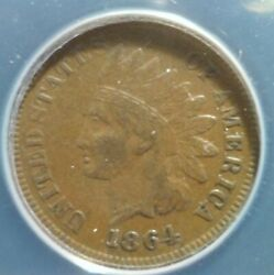 Anacs Vf 1864-l Indian Head Cent - Snow-2b Bold Wide Repunched Vf30 Det Variety