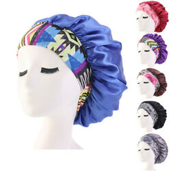 Satin Night Sleep Cap Women Fizzy Hair Care Bonnet Sleeping Hat Head Cover Wrap
