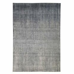 6and0391x9and0392 Gray Vertical Ombre Design Pure Silk Hand Knotted Oriental Rug R47624