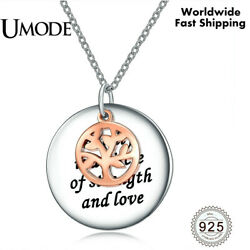 UMODE New Real 925 Sterling Silver Rose Gold Tree of Life Pendant For women