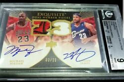 EXQUISITE NUMBERS DUAL AUTO PATCH MICHAEL JORDAN LEBRON JAMES BULLS LOGO 23 BGS