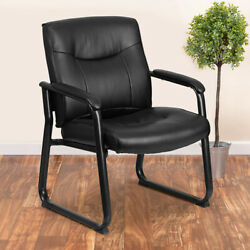 Big And Tall 500 Lb. Rated Black Leathersoft Executive Reception Chair-sled Base