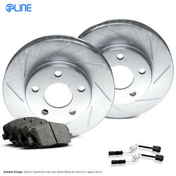 For Mercedes-Benz 300SE, 300SD, S350 Front  Slotted Brake Rotors+Ceramic Pads
