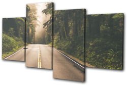 Californian Woods Road Trees Landscapes Multi Canvas Wall Art Picture Print