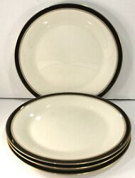 Noritake Dinner Plates Set Of 4 Ivory And Ebony 7274 Japan Great Used Cond.