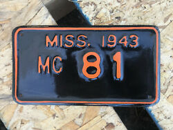 1943 Mississippi motorcycle license plate 81