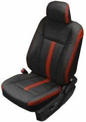 Ford F150 Super Crew Xlt Custom Katzkin Leather Seat Covers Black And Cardinal Red