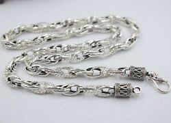 Real S925 Silver Necklace Men Womenand039s Chain Double-ring Oval 7mm Link 24and039and039l Gift