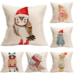 Pillow Couch Decorative New Happy Cover Home Case Christmas Cushion Year Animals