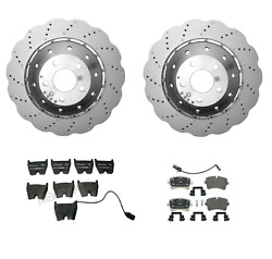 New Set Of 2 Drilled Vented Steel Brake Rotors And Pads Genuine For Audi Rs5 13-15