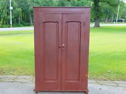 Antique 19thc Country Primitive 2 Door Pantry Cupboard Cabinet Old Red Paint