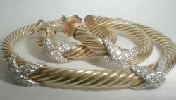 DAVID YURMAN solid GOLD DIAMOND classic BRACELET EARRINGS $12K NEIMAN MARCUS