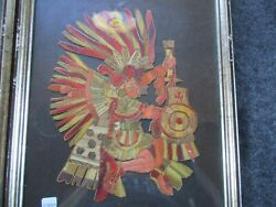 Rare Native American Quilled Picture, Porcupine Quilled Artwork,  Sd-03840 Aandb