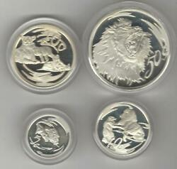 2000 Lion Predator Of Africa Wildlife Series Sterling Silver Set 4 Coins-proof