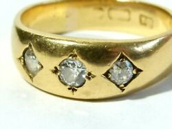 Good Antique 18ct Gold 3 Stone Old Cut Diamond Ring Size W1/2 Gents 10.3 Grams