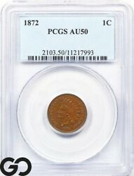 1872 Pcgs Au 50 Indian Head Penny Almost Uncirculated 50 Better Date