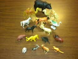 16 Animals Playset Marx/mpc/1950and039s-1960and039s Lot Bears Camels Dinosaurs Deer Moose