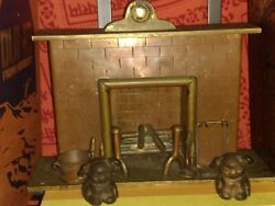 Antique dollhouse miniature one of a kind heavy metal fireplace Hines pups c1917
