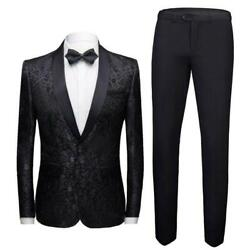 Mens Wedding Suit 2 Piece One Button Shawl Collar Slim Fit Blazers Outfit Sz